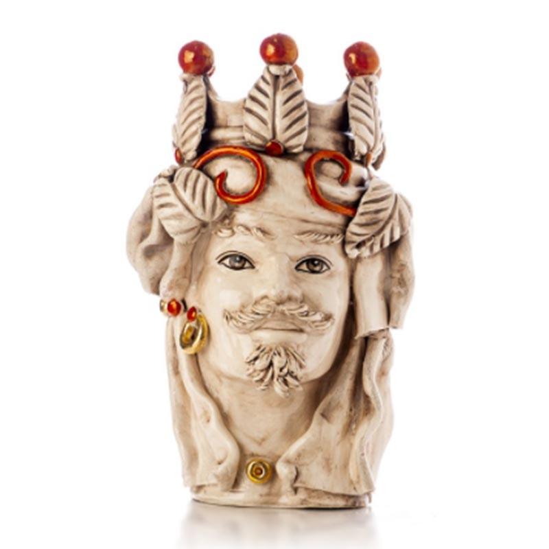 TEMDLUX/M35-Verus Ceramiche Testa di Moro uomo Elegance con drappo bianco antico Candida Celiento