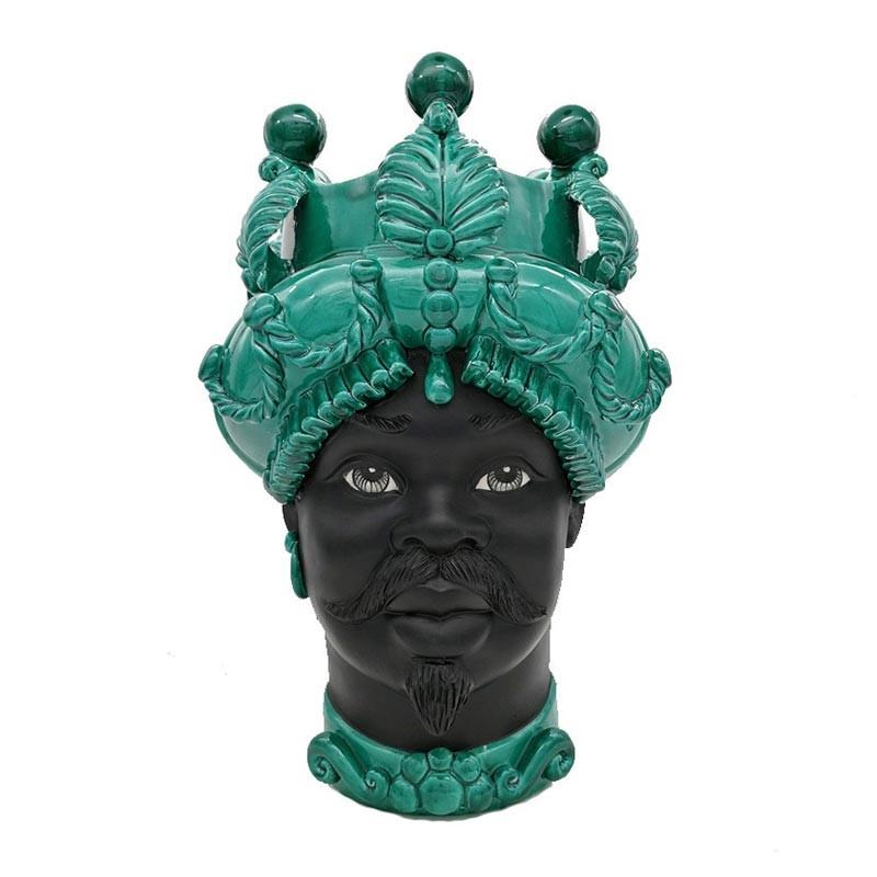 TBGO016/M42-Verus Ceramiche Testa di Moro uomo Mod.B foglie e palle verde ramina Candida Celiento