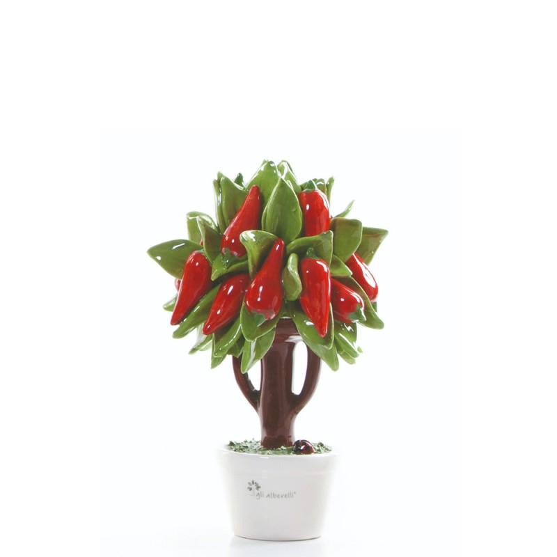 Candida Celiento - Gli Alberelli, albero porcellana - decoro PEPERONCINO - Piccolo - foto-1