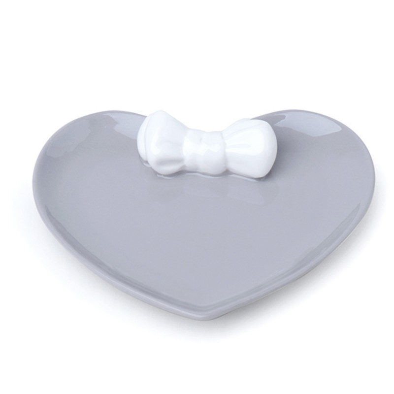 Candida Celiento - Hervit Creations, piattino cuore in porcellana grigia