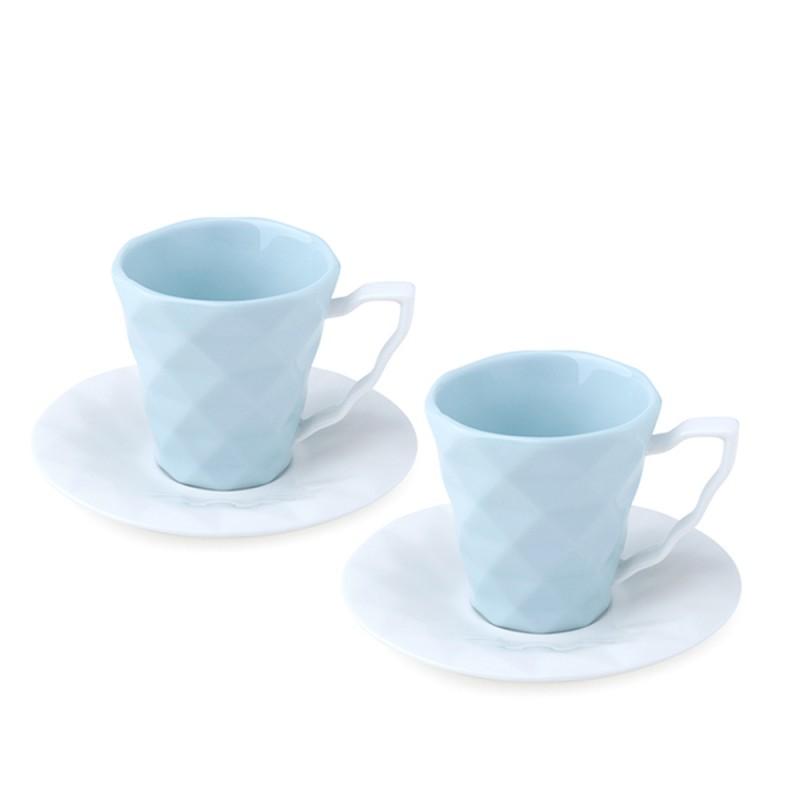 Candida Celiento - Hervit Creations, set 2 tazzine caffè in porcellana acqua