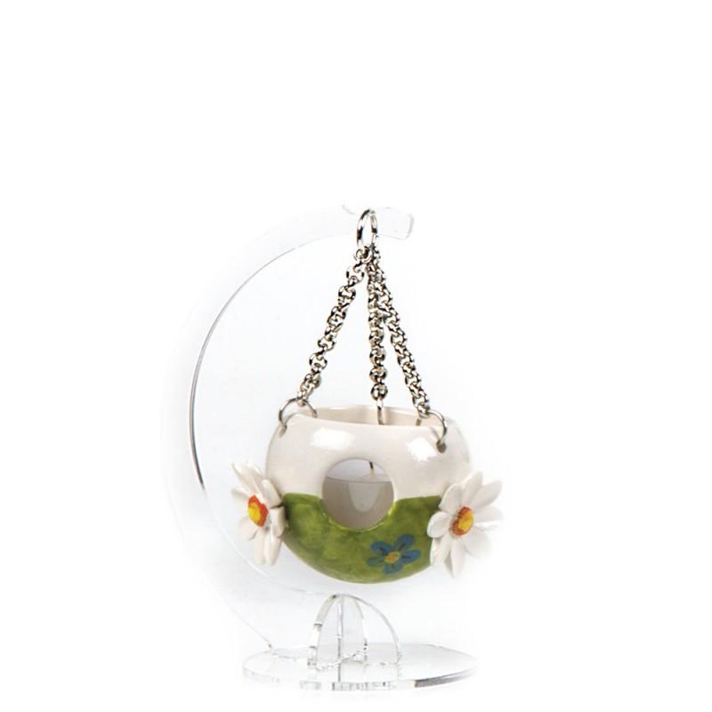 Candida Celiento - Gli Alberelli, lanternina in porcellana - decoro MARGHERITE - Piccola - foto-1