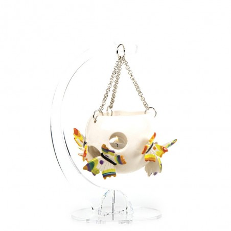 Candida Celiento - Gli Alberelli, lanternina in porcellana - decoro FARFALLE - Media - foto-1