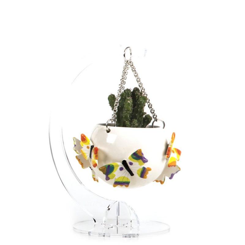 Candida Celiento - Gli Alberelli, portapiantine in porcellana - decoro FARFALLE - Medio - foto-1