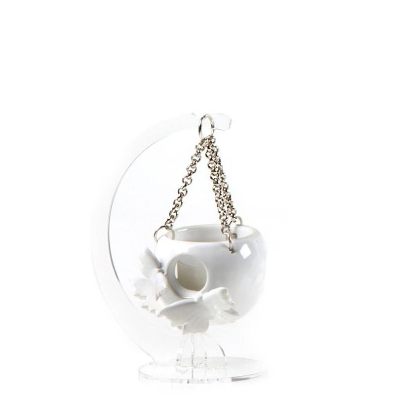 Candida Celiento - Gli Alberelli, lanternina in porcellana bianca - decoro FARFALLE - Piccola - foto-1