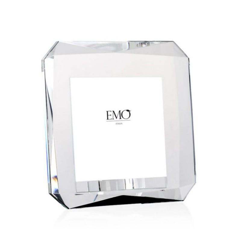 Candida Celiento - Emò Italia, portafoto in cristallo linea Acqua 16x16x7,5cm