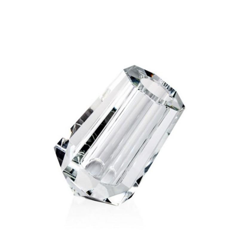 Candida Celiento - Emò Italia, vaso trasversale in cristallo linea Acqua 6x8cm