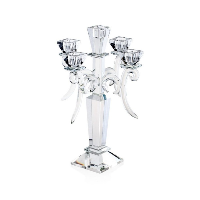 Candida Celiento - Emò Italia, candeliere 5 fiamme in cristallo linea Acqua 22x34cm