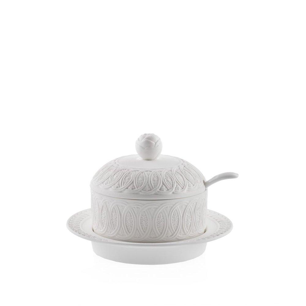 Candida Celiento - Emò Italia, portaformaggio in porcellana bisquit bianca diametro 16cm